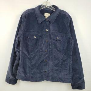 L.L. Bean Navy Blue Velvet-like Blazer Jacket